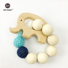 baby Wooden Teether Organic eco-friendly Wood Elephant shaped Teething Nursing…