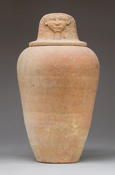 Canopic Jar with an Image Representing the Hieroglyph for Face  Period:     New Kingdom Dynasty:     Dynasty 18, early Date:     ca. 1550–1450 B.C. Geography:     Country of Origin Egypt, Upper Egypt; Thebes