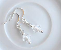 Silver crystal dangle earrings, crystal earrings, crystal drop earrings, Swarovski crystal earrings, summer jewelry