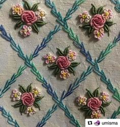 Wonderful Ribbon Embroidery Flowers by Hand Ideas. Enchanting Ribbon Embroidery Flowers by Hand Ideas. Brazilian Embroidery Stitches, Hand Embroidery Stitches, Silk Ribbon Embroidery, Rose Embroidery, Hand Embroidery Designs, Embroidery Techniques, Cross Stitch Embroidery, Embroidery Patterns, Machine Embroidery