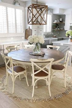 Vintage Round Wood Table And Chairs ★ Industrial and modern, simple and intricate farmhouse table designs to consider adding to your décor. ★ kitchen table 27 Popular Farmhouse Table Ideas To Use In The Décor Farmhouse Dining Room Table, Dining Table Design, Rustic Table And Chairs, Rustic Kitchen Chairs, Country Kitchen Tables, Round Table And Chairs, Dining Chairs, Lounge Chairs, Side Tables