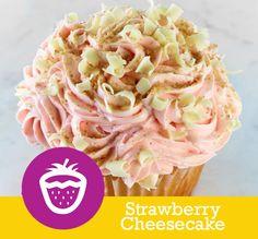 Strawberry Cheesecake CAKE Vanilla Cheesecake FILLING Strawberry Jam TOPPING Strawberry Buttercream, White Chocolate Curls & Graham Cracker Crumbs