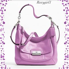 """❗️1 Day Sale❗️Coach Kristin Handbag #22306 HP Coach Kristin Lavender Handbag #22306 retail $378 + Tax ~ New with Tags Attached  Description : Size: 12 1/2""""(L) x 9""""(H) x 3""""(W) Leather Color: Lavender Silver Hardware Inside zip, cell phone and multifunction pockets with Silver Satin Lining Zip-top closure, fabric lining Outside flap pocket Handle with 10 1/2"""" drop Longer strap for shoulder or crossbody wear Approximate Measurements 12 1/2"""" (L) x 9"""" (H) x 3"""" (W) ❌NO TRADE OR PP❌ Coach Bags"""