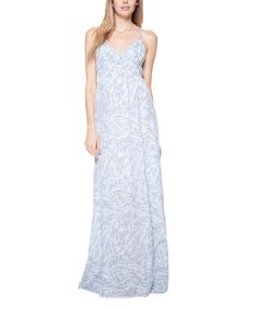 Rieley Blue Brushstroke Silk Maxi Dress by Rieley #zulily #zulilyfinds