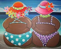 Esther Buys - Dikke dames op het strand, schilderij voor oma