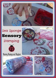 Budget friendly sensory stamping & rolling fun with sea sponge loofah's! Mummy Musings and Mayhem