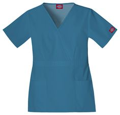 """Empire Waist Top in Caribbean Classic Missy Fit, mock wrap top features and empire waist, front darts, two slanted patch pockets and side vents for ease of movement. Center back length:24 1/2"""".  Fabric: Poly/Cotton $17.99 #scrubs #nurses #doctors #medicaloutlet"""