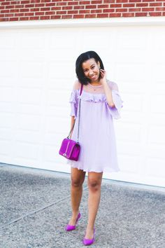 Season change got you stumped on what to wear? Southern style blogger, What Nicole Wore, shares chic Easter outfits to recreate from your closet plus how to wear spring's hottest pastel: lilac! // monochromatic outfit, lilac dress, lavender dress for her, rebecca minkoff love crossbody, lilac outfit ideas, sorority recruitment outfits, sorority dresses under $50, ultraviolet outfit for her