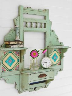 green antique painted shelf