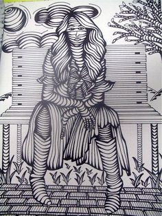 contour woman on bench - shows shape and mass and volume