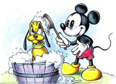 """Mickey Mouse and Pluto  """"but I just got a shower yesterday Mickey..."""""""