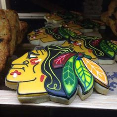 Edible Blackhawks logo cookies available at Little Goat, via Chef Stephanie Izard.