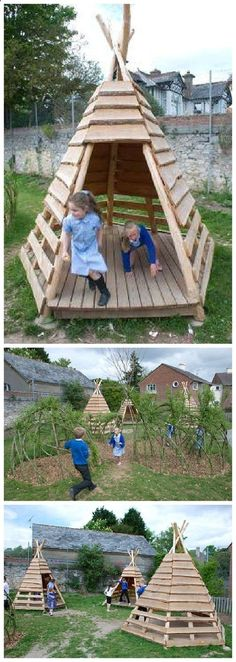 Plans of Woodworking Diy Projects - Pallet Projects - DIY Outdoor TeePee for a Kids Playground or the Backyard - Do it Yourself Outdoor Woodworking Tutorial via 1001 Pallets Get A Lifetime Of Project Ideas & Inspiration!