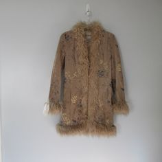 Vintage 90s Painted Suede Faux Fur Trim Coat by WayWeVintage on Etsy