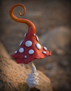 Red white amanita fantasy mushroom polymer clay by Petradi
