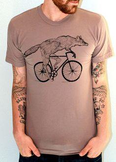 Mens BICYCLE Tshirt FOX on a Fixie BIKE by darkcycleclothing