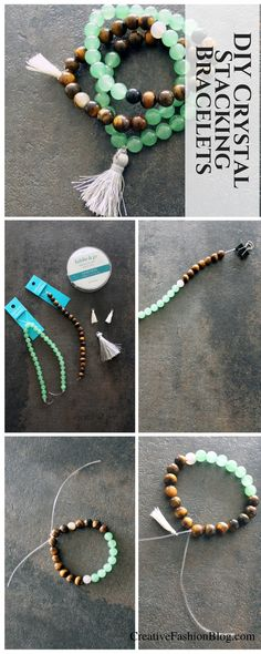 Jewelry Making DIY Stone Bracelets . Crystals for jewelry making DIY Stone Bracelets . Healing Crystals jewelry making. This simple crystal bracelets DIY is the best beginner beading tutorial. Body Jewelry, Jewelry Shop, Fine Jewelry, Handmade Jewelry, Fashion Jewelry, Personalized Jewelry, Diy Fashion, Jewellery Box, Diy Jewelry To Sell