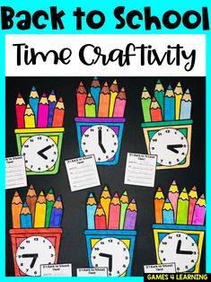 Back to School Time Craftivity - Beginning of the Year Math Activity Telling Time Activities, First Grade Activities, Back To School Activities, Math Activities, Teaching Ideas, School Ideas, The New School, Going Back To School, New School Year