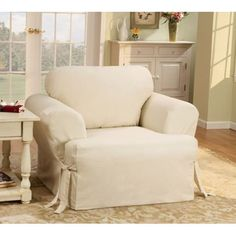Cotton Duck Sofa T-Cushion Slipcover for Chair in Natural