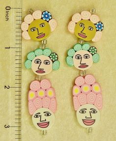6 Assorted Focal Fimo Polymer Clay Colorful Fun Funky Face Two Sided Flat Beads