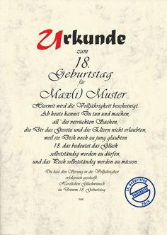 Details Zu Urkunde 18.Geburtstag Karte Geburtstagskarte 18 Jahre Volljährig  Urkunde(C671)