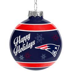 New England Patriots Happy Holidays Glass Ball Ornament, $7.99