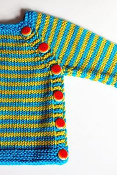 How can you not smile with these bright stripes and bold buttons on this super cute baby sweater knit in Madelinetosh Tosh Vintage.