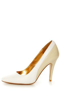 Check it out from Lulus.com! Dazzling on the dance floor, or chic on the streets, the Envy Bethanie White and Cream Leather Pumps steal the show morning, noon, or night! Genuine leather in white is smooth along the pointed toe and opening, balanced by shiny cream patent over the heel cup and 4