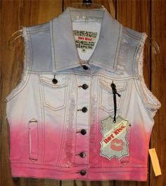 NWT Woman's Juniors Hot Kiss Blue Pink & White Ripped Denim Vest Size Small