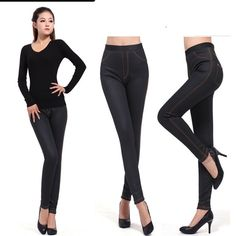CHRLEISURE XL-XXXL 2 Colors Women's Thickening Pants Winter Imitation Jeans Fashion Warm Trousers For Women With Pocket