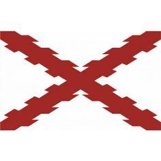 La Bandera de España Antigua con la Cruz de Borgoña es una representación de la Cruz de San Andrés en la que los troncos que forman la cruz aparecen con sus nudos en los lugares donde se cortaron las ramas. Napoleonic Wars, Coat Of Arms, Air Force, Badge, Spanish, Empire, Flag, History, Pictures
