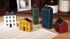 Country Primitive Saltbox House Village Set of 5 Rustic Shelf Display Wooden #Country