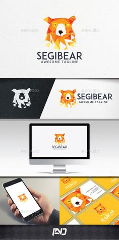 Polygonal Bear Logo Template — Photoshop PSD #polar bear #lowpoly