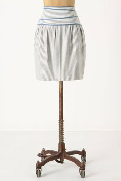 Calm Seas Skirt Light Blue Striped High Waist By Hype Anthropologie, Size 6 #Anthropologie #StraightPencil