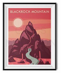 World of Warcraft travel posters. Blackrock Mountain retro poster. Azeroth prints. Wall art by TheGlassMountain