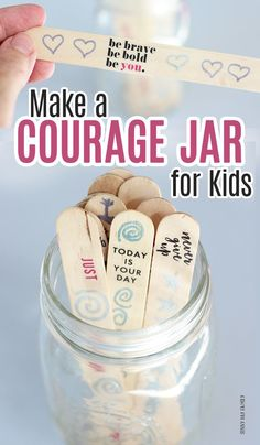 Encourage your kids with a courage jar! A simple DIY with inspiring words for the whole family. Part of this month's Family Dinner Book Club and perfect for the new school year! - Kids education and learning acts Self Esteem Activities, Counseling Activities, Art Therapy Activities, School Counseling, Activities For Kids, Emotions Activities, Art Therapy Projects, Mindfulness For Kids, Mindfulness Activities