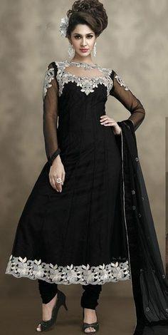$89.13 Black Embroidery Anarkali Salwar Suit 24401
