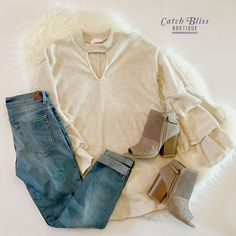 This cozy-chic winter outfit will have your closet smiling. Our essential cream tunic sweater and taupe booties compliment each other in a neutral way. Free shipping on orders $50 and over. #outfit