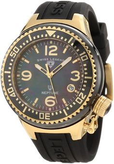Swiss Legend Women's SL-11844-BKBGA Neptune Mother of Pearl Silicone Watch ** Visit the image link more details.