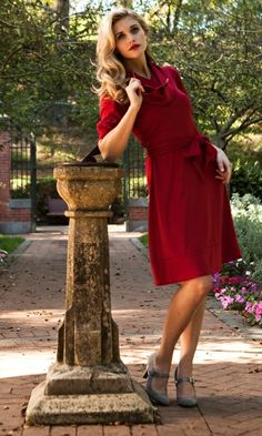 Red Cowl Neck Tie Waist Dress