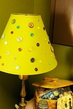 Trash to Treasure #homedecor ideas brassyapple.com #upcycle,,, great shade for my small lamp with clear glass base filled with sewing notions