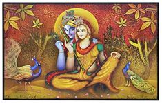 CraftJunction Wooden Lord Radha Krishna Art Print Design Without Frame Matt textured UV Canvas Painting(10*16 Inches)