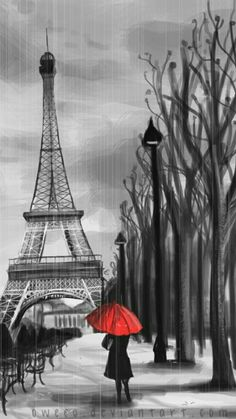 Avec son parapluie rouge by Oweeo on DeviantArt Eiffel Tower Drawing, Eiffel Tower Painting, Eiffel Tower Art, Paris Kunst, Paris Art, Paris Drawing, Paris Wallpaper, Splash Photography, Umbrella Art