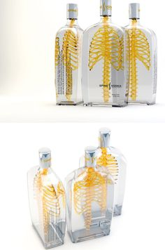 """German designer Johannes Schulz has created an eye-catching new concept for a bottle of vodka. The undeniable focal point of Spine Vodka is the three-dimensional spine and ribcage featured within each bottle. It's meant to convey the idea that the alcoholic beverage has a real """"backbone"""" that buyers can trust. Whether the design will intrigue people or gross them out is still up for debate."""