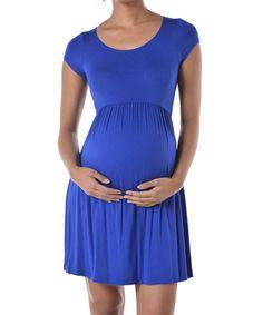 Chris & Carol Royal Blue Maternity Empire-Waist Dress #zulily #zulilyfinds