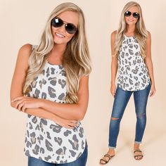 """5674146e79e The Blue Door Boutique ™ on Instagram  """"Only two sizes left in this leopard  tank!! Hurry and get your size now at shopbluedoor.com or call 706-596-0139  to ..."""
