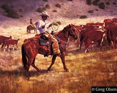 "Work can cure a lot of things. (""Cattle Drive"" by Greg Olsen) Cowboy Art, Cowboy And Cowgirl, Cowboy Poetry, Greg Olsen Art, Cattle Drive, Cowboys And Indians, Old West, Western Art, Beautiful Horses"
