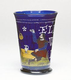 Beaker - Probably northern Bohemian or Saxon, 1599   Free-blown cobalt-blue glass with gold leaf and enamel decoration