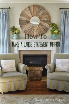 Right Up My Alley: DIY Large Statement Mirror. This cost less than $40 for a HUGE Ballard Design inspired mirror.