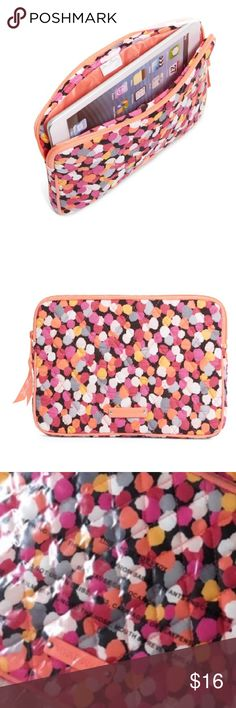 NWT Vera Bradley E-Reader Tablet iPad Sleeve PIXIE Brand new with retail tag, still in plastic packaging! Pixie Confetti, polka dot, pattern. Fits mini iPads, android tablets. LKing for more Vera Bradley, visit my closet! Same day or next day shipping! Vera Bradley Accessories Tablet Cases